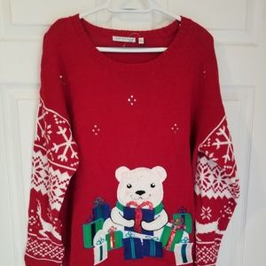 Notations Christmas Sweater NWT Size 1X Red White